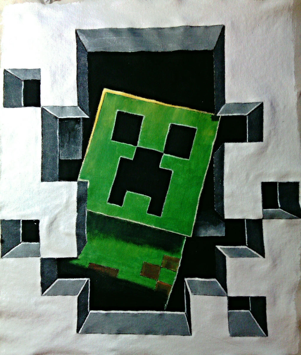How to make a 3d minecraft creeper wall hanging mind food for Minecraft fabric by the yard