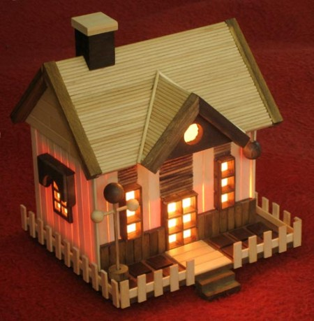Lighted popsicle stick house mind food for Popsicle stick crafts for adults