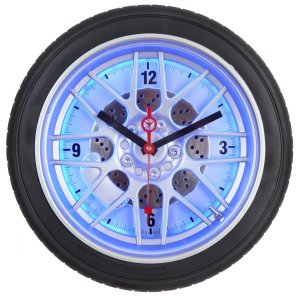 Maple's 18-Inch Tire Wall Clock, Blue LED