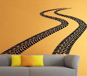 Tire Tracks Car Wall Sticker Decal