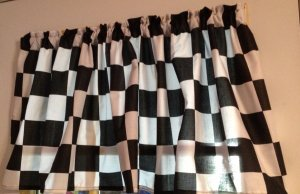 WINDOW CURTAIN VALANCE MADE FROM NASCAR CHECKERED FLAG FABRIC