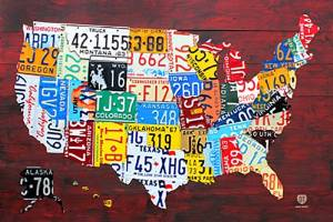 License Plate Map of The US Poster, 24