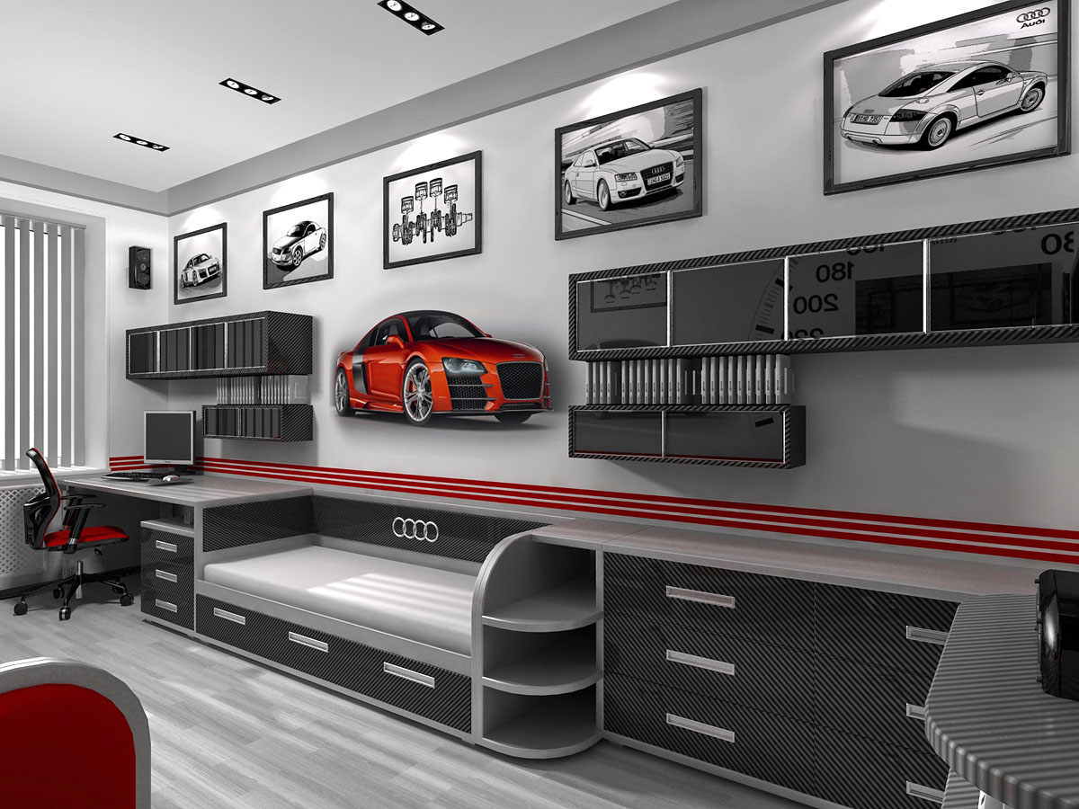 Amazing car themed room decor ideas mind food for Cool car garage ideas