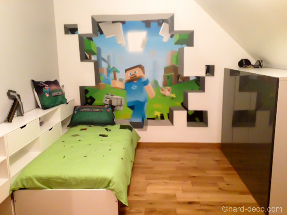 Amazing minecraft bedroom decor ideas moms approved - Stickers pour chambre garcon ...