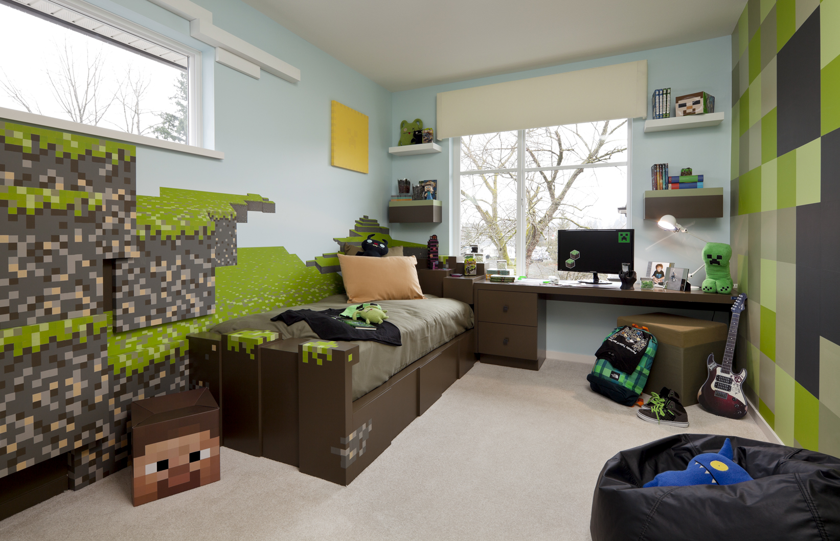 Minecraft bedroom ideas in real life house made of paper for Boys room mural